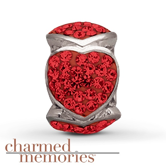 Charmed Memories Red Crystal Heart Charm Sterling Silver